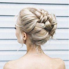 Romantic braid bun bridal hair