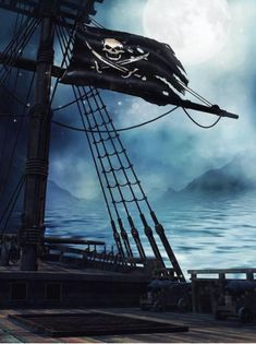 Kate Summer Backdrops Deck of a pirate ship background with the black flag at night Background For Photography, Photography Backdrops, Audio Stories For Kids, Halloween Backdrop, Halloween Party, Party Fotos, Pirate Photo, Black Sails, Black Mountain