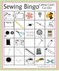 Print off your sewing bingo boards and calling cards. Great for sewing or quilt groups, parties and more. Bingo Cards, Printable Cards, Printables, Sewing Lessons, Sewing Class, Sewing Projects For Kids, Sewing For Kids, Sewing Ideas, Sewing Projects