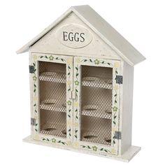 Dotcomgiftshop Hand Painted Wooden Egg House for 12 Eggs for sale online Egg Storage, Kitchen Storage, Locker Storage, Wooden Cat, Wooden House, House Painting, Painting On Wood, Egg Holder, House In The Woods