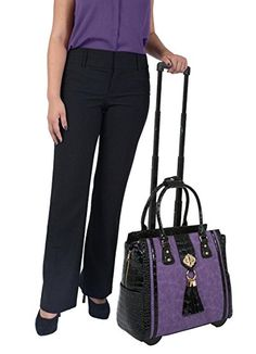 """THE DUCHESS"" Purple Python & Alligator Computer iPad, Laptop Tablet Rolling Tote Bag Briefcase Carryall Bag    electronic gifts for women"