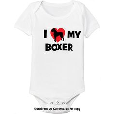 I Love My Boxer Dog Infant Bodysuit One-Piece  Toddler T-shirt Heart Cute Welcome Baby Shower Gift Idea on Etsy, $13.99