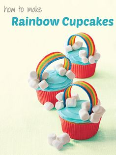 Easy cupcake recipes: How to make Rainbow Cupcakes for spring Einfache Cupcake-Rezepte: So mac Rainbow Cupcakes, Fun Cupcakes, Spring Cupcakes, Rainbow Frosting, Decorated Cupcakes, Rainbow Food, Cupcake Frosting, Rainbow Birthday Party, Unicorn Birthday