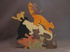 Cat And Kitten Pile Puzzle Wooden Toy Hand Cut With Scroll Saw