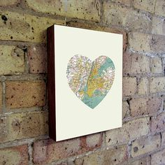 amie....New York Art City Heart Map  Wood Block Print by LuciusArt on Etsy, $39.00