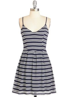 Stylish Road Ahead Dress - Mid-length, Knit, Blue, White, Stripes, Casual, Sundress, Nautical, A-line, Spaghetti Straps, Spring