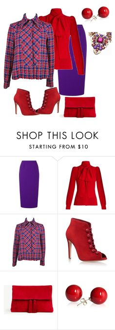 """""""# houndstooth# bright colors"""" by andrea-jones-4 ❤ liked on Polyvore featuring Roland Mouret, Sonia Rykiel, Chanel, Gianvito Rossi and Ann Taylor"""