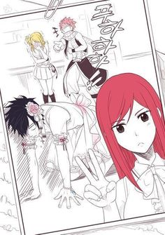 Fairytail-Erza, Grey, Natsu, and Lucy Fairy Tail Meme, Fairy Tail Nalu, Art Fairy Tail, Fairy Tail Amour, Image Fairy Tail, Fairy Tail Comics, Fairy Tale Anime, Fairy Tail Guild, Fairy Tail Ships