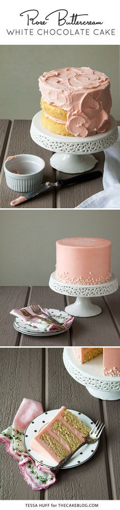 White Chocolate Cake with Rose Buttercream | by Tessa Huff for TheCakeBlog.com