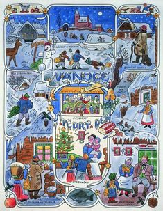 The most typical Czech Christmas and winter themes painted by the Czech painter Josef Lada Vintage Christmas, Christmas Cards, Christmas Ideas, Advent, Paper Artwork, Winter Theme, Land Art, A Comics, Christmas Pictures