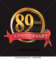 89 years golden anniversary logo with ring and soft red ribbon