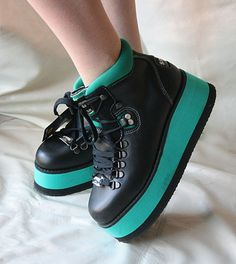 36af4bc71f45 Green Ray 80 s Vintage RARE Rave Boots FREE SHIPPING by ShoeUs