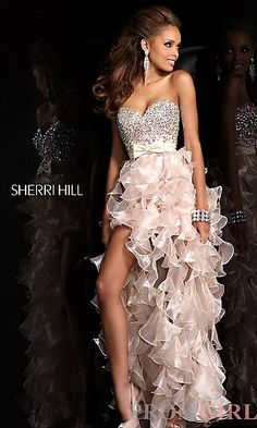 This is sooooo cute!! Strapless High Low Ruffled Prom Dress by Sherri Hill at PromGirl.com