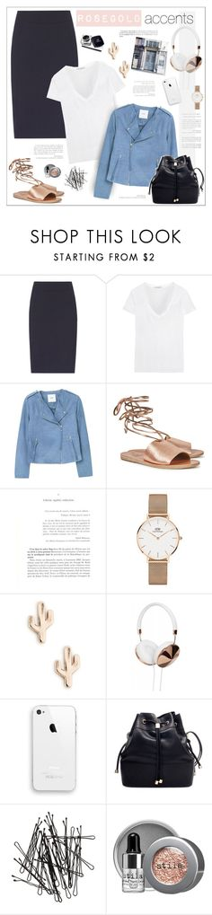 """""""Rosegold ACCENTS"""" by erino9519 ❤ liked on Polyvore featuring Reiss, James Perse, MANGO, Ancient Greek Sandals, Daniel Wellington, Sole Society, H&M and Stila"""