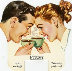Vintage Advertising : The coffee date ~ ad by Nestlé. Vintage Advertising Campaign The coffee date ~ ad by Nestlé. Advertisement Description The coffee date ~ ad by Nestlé. Sharing is love ! 1950s Ads, Retro Ads, Vintage Advertisements, Vintage Ads, Vintage Prints, Poster Café, Retro Poster, Coffee Poster, Coffee Art