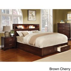 Highly functional, this platform bed features built-in lighting within the bookcase headboard and spacious drawers within the footboard. This genius design is sure to stand out in your living space and is available in two sleek colors.