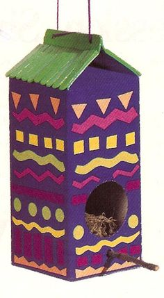 Milk carton bird house. This is a good project for the participants of Wellsprings Community.