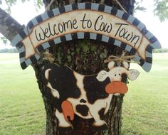 Welcome to Cow Town Sign by CaneySpringsCrafts on Etsy