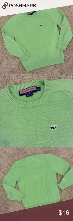 "Green Boys Vineyard Vines Sweater Small 8-10 Preowned Vineyard Vines by Shep & Ian light green 100% cotton sweater. Size S 8-10. Approx. 15.5"" underarm to underarm lying flat unstretched; 13"" underarm to wrist; 20"" back top of neck to bottom hem. Vineyard Vines Shirts & Tops Sweaters"