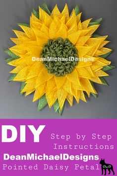 The original Pointed Daisy Petal by DeanMichaelDesigns! DIY. Step by Step video instructions. Easy to follow video by DeanMichaelDesigns, the original designer of this petal. Make a beautiful wreath with this well instructed tutorial.  #DIY #wreath #tutorial #homedecor