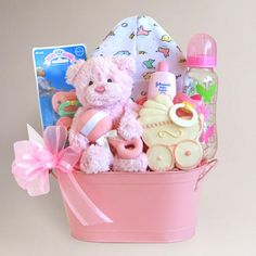 """Cuddly Welcome for Baby Girl Gift Basket - Adorable """"Home From the Hospital"""" gift."""
