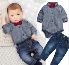 Denim Romper Bow Shirt and Jeans Set || Coming in a great value pack of two pieces, this hot-selling T-shirt and Pant set will make your child stand out from the crowd! The set comes in various quirky design and each contains a T-Shirt and matching joggers. The set is made out of soft cotton, perfect for easy, comfort dressing.