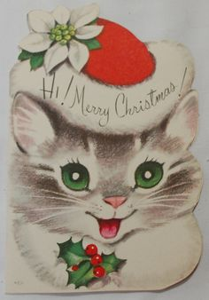images of 1950 vintage christmas card Cat Christmas Cards, Christmas Kitten, 1950s Christmas, Vintage Christmas Images, Christmas Animals, Vintage Holiday, Christmas Pictures, Christmas Greetings, Christmas Themes