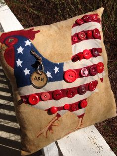 Americana Decor~ Prim Pillow Tuck~ Fourth of July~ Rooster~ American Flag~ Primitive Americana Americana Home Decor, Americana Crafts, Patriotic Crafts, July Crafts, Primitive Crafts, Primitive Stitchery, Primitive Patterns, Primitive Snowmen, Wood Crafts