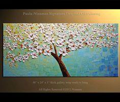 48 Blossom Oil Painting Modern Palette Knife Tree por Artcoast