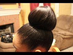 Requested: Achieve High bun w/ shorter hair - YouTube | Um, this is a super good idea for a protective style. It involves weave hair and can be done even with long hair (it's not just for short hair).... but your hair's ends are completely covered and protected. AND it's cute.