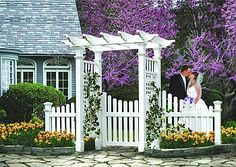 Fairfield Arbor with Cottage Picket Wings and Gate - The Fairfield Arbor provides the perfect structure for any yard, garden, or pathway. This flat top pergola style design is very stylish, while still offering timeless appeal. Made with premium weather-resistant vinyl, this arbor is virtually maintenance free. Never stain, paint, or maintain your arbor again. Vinyl offers the classic look of wood without the headaches. #Arbor #Picket #White #Garden