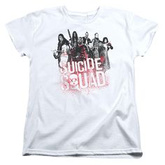 Suicide Squad Squad Splatter Womens Tee - White - Officially Licensed - High Quality - 100% Pre-Shrunk High Quality Soft Spun Cotton / Fabric Weight 5.5 oz. - Pre-Shrunk to Minimize Shrinkage - Featur