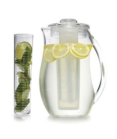Prodyne Iced Fruit Infusion Pitcher. With interchangeable inserts you can either chill your drink or infuse it with fruits.
