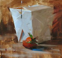 """Love the idea of a Chinese food take out container for a still life subject--simple enough for high school students to focus on light/shadow/proportion/angles without worrying about a complicated form  