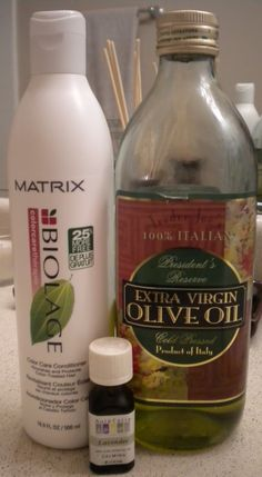 1/4 Cup of olive oil,  1 tbs of conditioner,  and a shower cap (can add scented oil too). Heat olive oil and conditioner just enough to blend together and be warm. Rub mixture in hair starting at ends first. Comb through. Put shower cap on. Wait 30 minutes and shampoo. Recommended weekly in winter time.