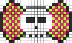 Pink And Green Checks Bow Perler Bead Pattern | Bead Sprites | Simple Fuse Bead Patterns