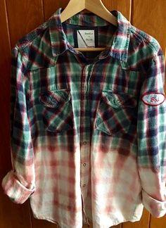 5b0a4a857988f A unique plaid flannel with vintage patches.