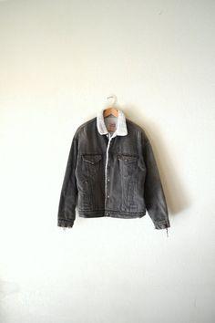 70's Levis Black Denim Sherpa Jacket by Bigbrothervintage on Etsy