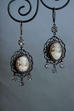 Vintage assemblage earrings cameo earrings genuine cameos rhinestone dangles antique cameos assemblage jewelry-by French Feather Designs.