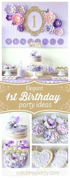 Fall in love with this elegant Spring Bloom 1st Birthday party! The cakes are amazing!!  See more party ideas and share yours at CatchMyParty.com