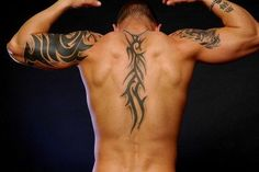 Tribal tattoos were originally used to identify members of a specific group, but now they mostly just look cool. About one-third of all tattoo requests are tribal tattoos. Share tribal tattoo designs and links to info about tattoos. Hand Tattoos, Tribal Back Tattoos, Cool Back Tattoos, Back Tattoos For Guys, Trendy Tattoos, Sexy Tattoos, Back Tattoo Men, Spine Tattoos, Amazing Tattoos
