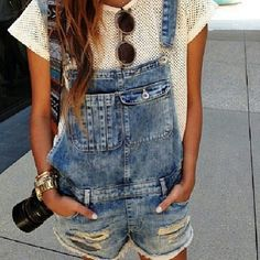 Dungarees, round shades & arm candy - summer bliss.