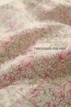 Light Tulip Flower Cotton Fabric Pink Purple Yellow by fabricmade