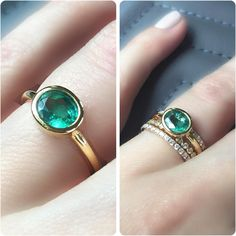 Emerald Ring . Bezel Set Oval Cut Natual Zambian Emerald Ring . (£345) ❤ liked on Polyvore featuring jewelry, rings, engagement rings, emerald rings, 14 karat gold ring, emerald engagement rings and bezel set engagement ring