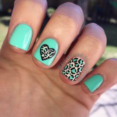 Came up with a turquoise and neutral leopard print manicure for #ManiMonday!  I used a base of #ChinaGlaze #TooYachtToHandle and #OPI #MyVampireIsBuff. Spots were made with a dotting tool  purchased on Amazon and outlined with black acrylic paint and a thin brush. Everything was topped off with a thick coat of the amazing #SecheVite Dry Fast Top Coat! ❥CP #nailart #turquoise #leopard #cheetahprint #nails #manicure #monday #notd #iphone #animalprint #opihawaiicollection