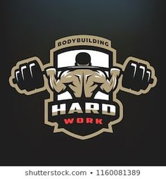 Bodybuilding emblem, logo on a dark background. Bodybuilding Logo, Bodybuilding Workouts, Bodybuilding Supplements, Gym Design, Logo Design, Sport Design, Dojo, Ios 11 Wallpaper, Fitness Motivation Wallpaper