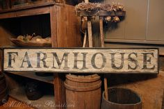 Here is a great antique looking FARMHOUSE that I will paint for you. The sign is painted in layers of brown and white with black lettering
