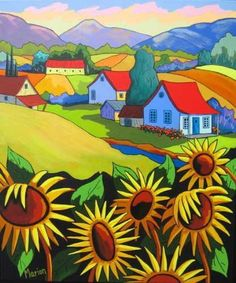 'Au Temps des Récoltes' by Louise Marion. (At Harvest Time) Landscape Quilts, Landscape Art, Images D'art, Art Fantaisiste, Naive Art, Whimsical Art, Art Pictures, Painting Inspiration, Art Lessons