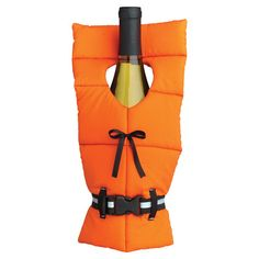 Bottle cover with a life preserver design.  Product: Bottle coverConstruction Material: Polyester and plastic