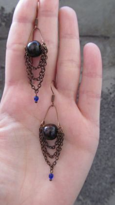 cooper earrings with wooden beads and blue by littlehandemade